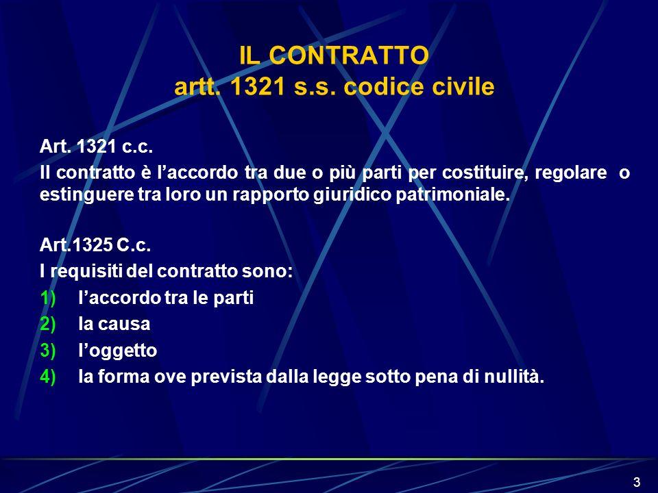 3 IL CONTRATTO artt. 1321 s.s. codice civile Art. 1321 c.c. ll contratto è laccordo tra due o più parti per costituire, regolare o estinguere tra loro