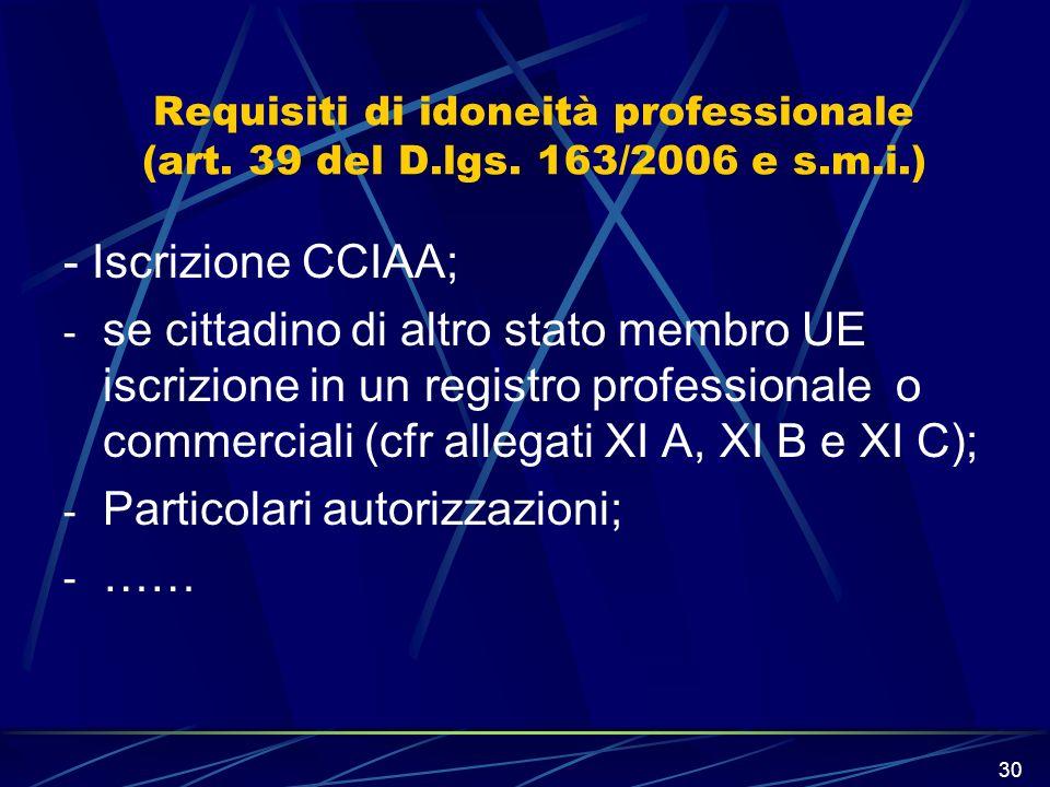 30 Requisiti di idoneità professionale (art. 39 del D.lgs. 163/2006 e s.m.i.) - Iscrizione CCIAA; - se cittadino di altro stato membro UE iscrizione i