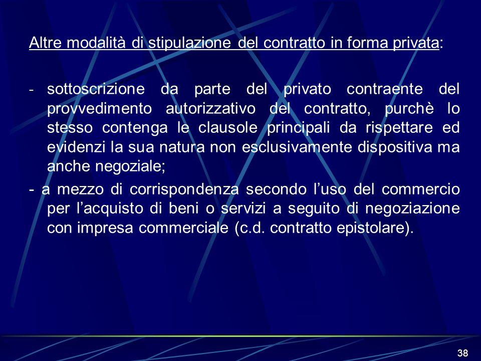 38 Altre modalità di stipulazione del contratto in forma privata: - sottoscrizione da parte del privato contraente del provvedimento autorizzativo del