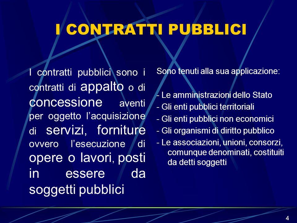 4 I CONTRATTI PUBBLICI I contratti pubblici sono i contratti di appalto o di concessione aventi per oggetto lacquisizione di servizi, forniture ovvero