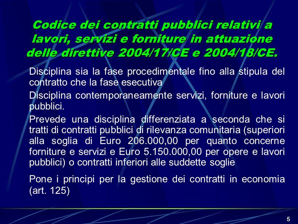 5 Codice dei contratti pubblici relativi a lavori, servizi e forniture in attuazione delle direttive 2004/17/CE e 2004/18/CE. Disciplina sia la fase p
