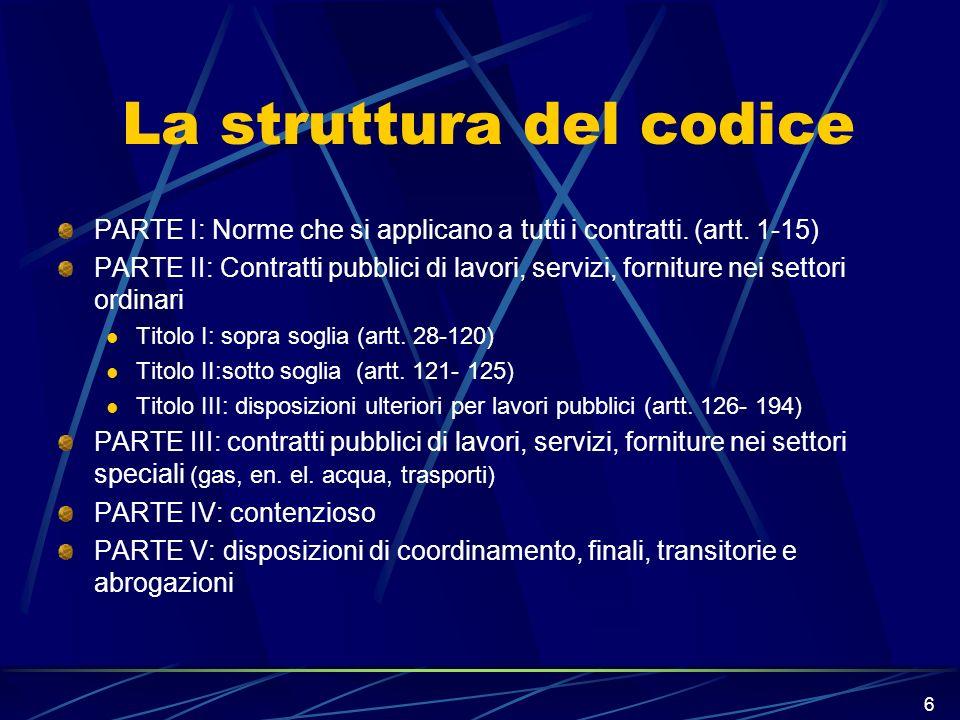 6 La struttura del codice PARTE I: Norme che si applicano a tutti i contratti. (artt. 1-15) PARTE II: Contratti pubblici di lavori, servizi, forniture