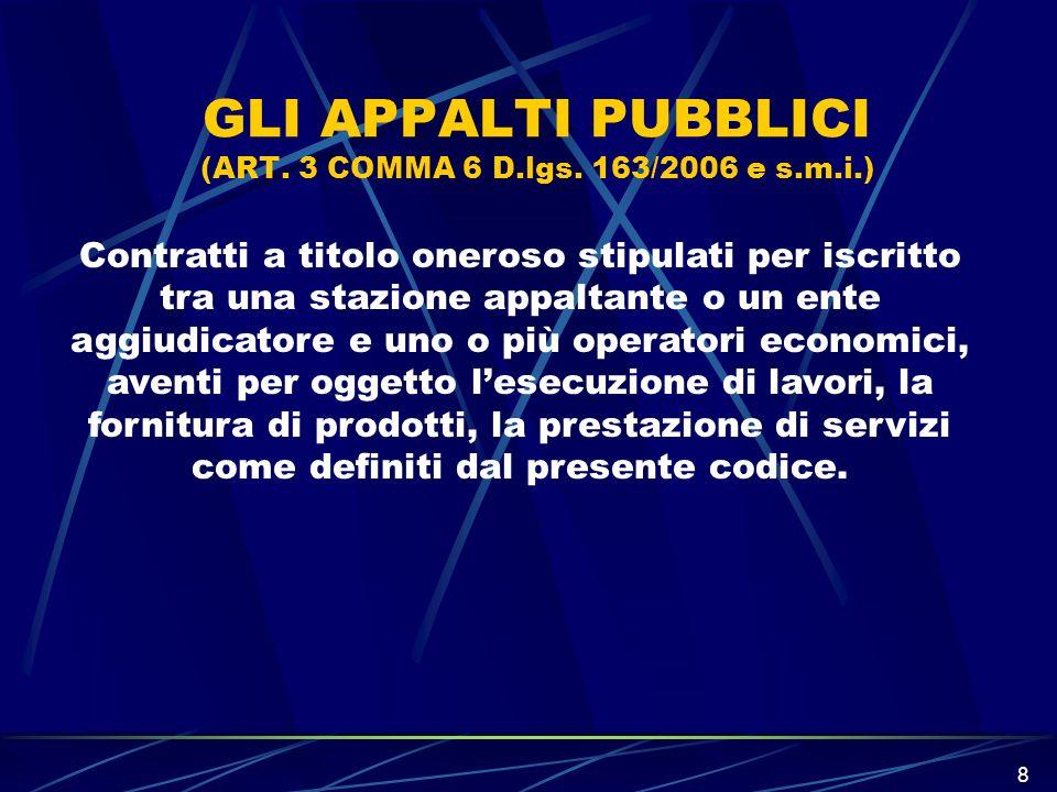 8 GLI APPALTI PUBBLICI (ART. 3 COMMA 6 D.lgs. 163/2006 e s.m.i.) Contratti a titolo oneroso stipulati per iscritto tra una stazione appaltante o un en