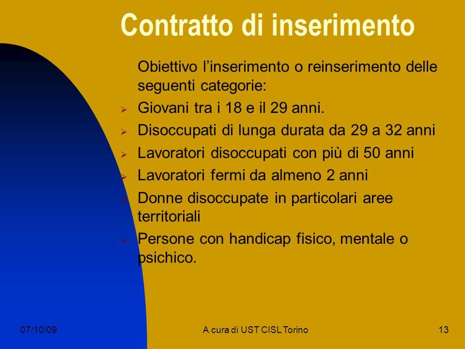 13A cura di UST CISL Torino07/10/09 Contratto di inserimento Obiettivo linserimento o reinserimento delle seguenti categorie: Giovani tra i 18 e il 29 anni.