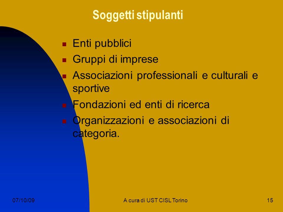 15A cura di UST CISL Torino07/10/09 Soggetti stipulanti Enti pubblici Gruppi di imprese Associazioni professionali e culturali e sportive Fondazioni ed enti di ricerca Organizzazioni e associazioni di categoria.