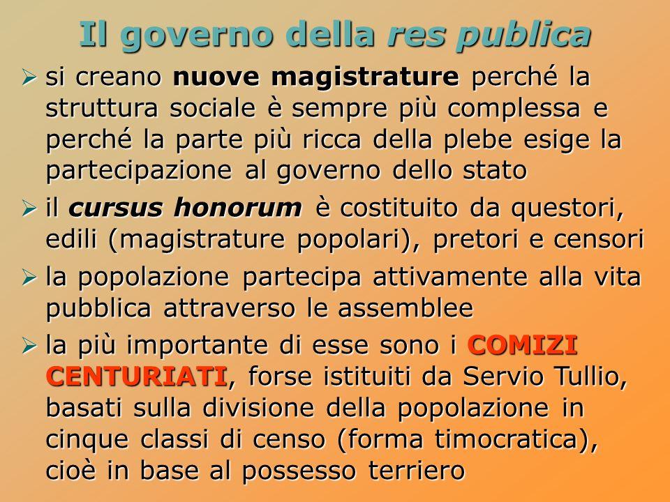 Il governo della res publica si creano nuove magistrature perché la struttura sociale è sempre più complessa e perché la parte più ricca della plebe e