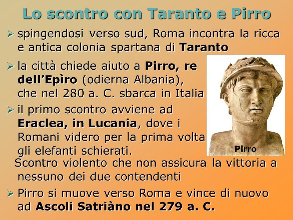 Lo scontro con Taranto e Pirro spingendosi verso sud, Roma incontra la ricca e antica colonia spartana di Taranto spingendosi verso sud, Roma incontra