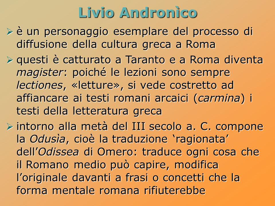Livio Andronìco è un personaggio esemplare del processo di diffusione della cultura greca a Roma è un personaggio esemplare del processo di diffusione