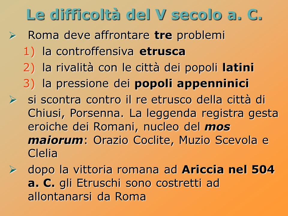 Le difficoltà del V secolo a. C. Roma deve affrontare tre problemi Roma deve affrontare tre problemi 1)la controffensiva etrusca 2)la rivalità con le