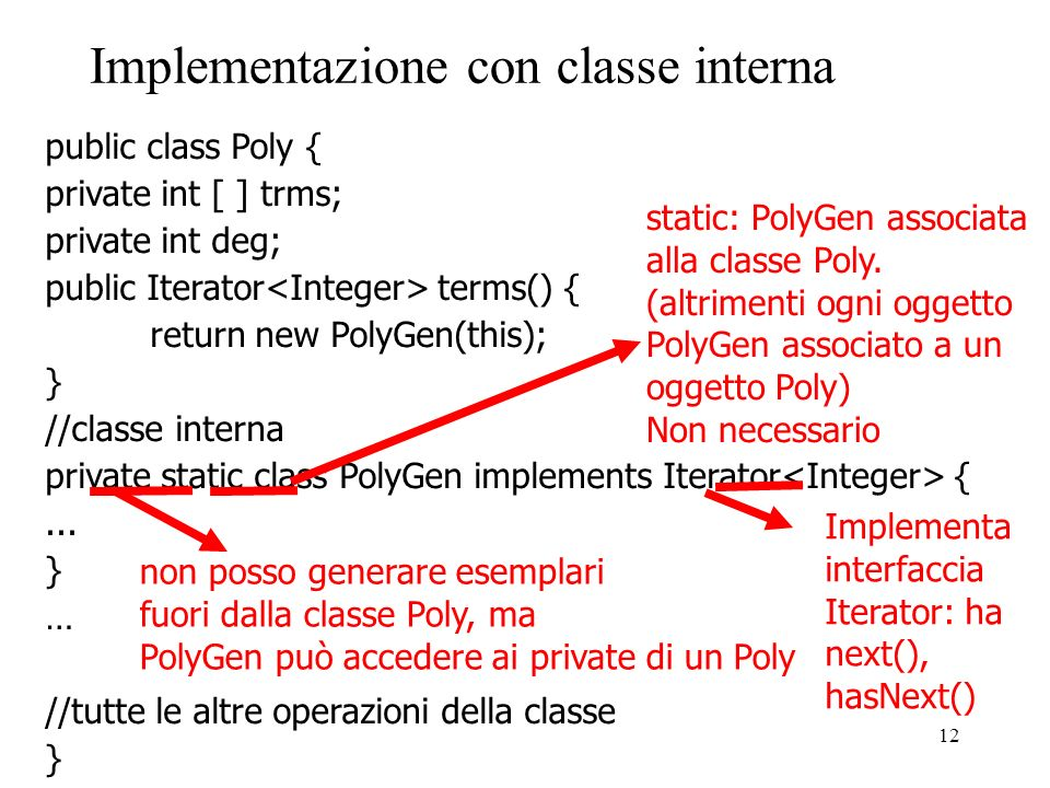 12 Implementazione con classe interna public class Poly { private int [ ] trms; private int deg; public Iterator terms() { return new PolyGen(this); } //classe interna private static class PolyGen implements Iterator {...