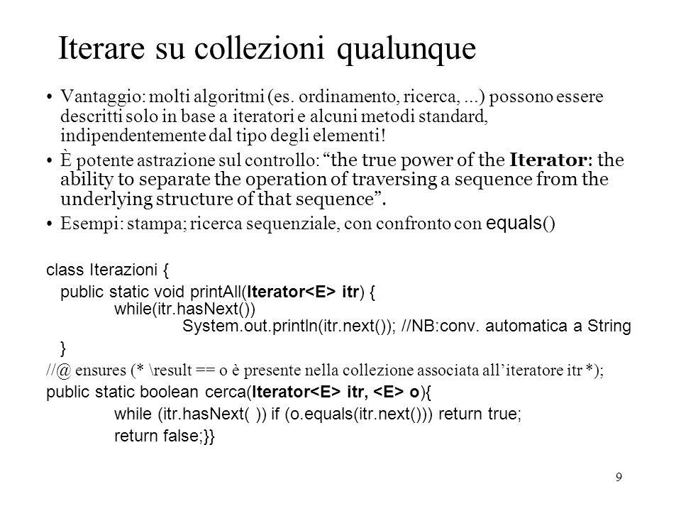 9 Iterare su collezioni qualunque Vantaggio: molti algoritmi (es.