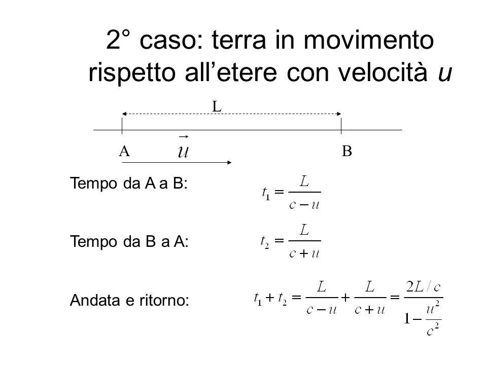 2° caso: terra in movimento rispetto alletere con velocità u Tempo da A a B: Tempo da B a A: Andata e ritorno: AB L