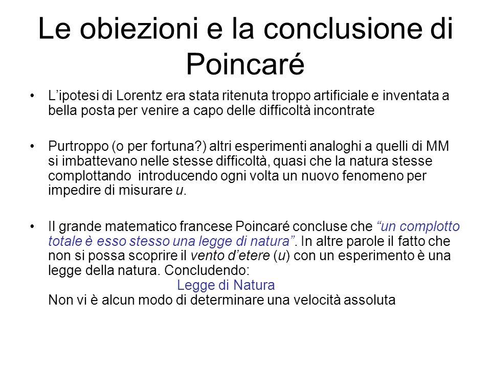 Le obiezioni e la conclusione di Poincaré Lipotesi di Lorentz era stata ritenuta troppo artificiale e inventata a bella posta per venire a capo delle