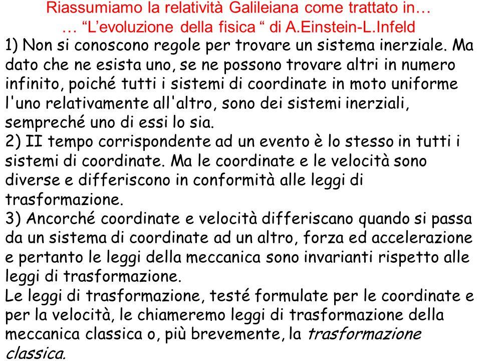 Riassumiamo la relatività Galileiana come trattato in… … Levoluzione della fisica di A.Einstein-L.Infeld 1) Non si conoscono regole per trovare un sis