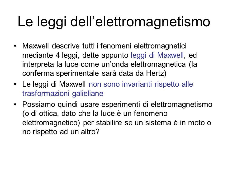 Le leggi dellelettromagnetismo Maxwell descrive tutti i fenomeni elettromagnetici mediante 4 leggi, dette appunto leggi di Maxwell, ed interpreta la l