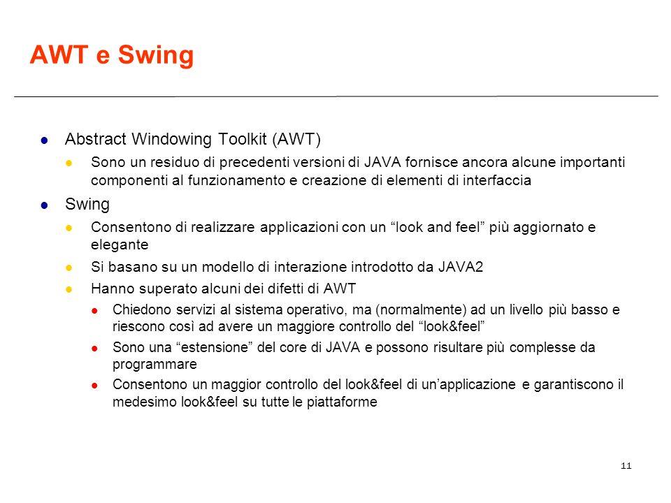 11 AWT e Swing Abstract Windowing Toolkit (AWT) Sono un residuo di precedenti versioni di JAVA fornisce ancora alcune importanti componenti al funzion