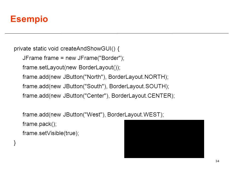 34 Esempio private static void createAndShowGUI() { JFrame frame = new JFrame(
