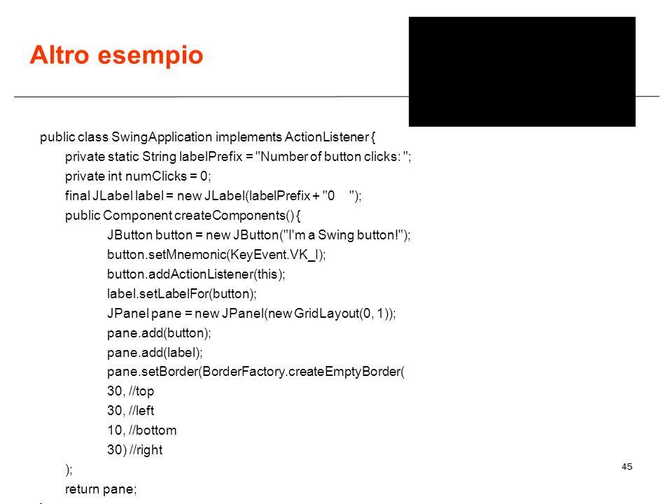 45 Altro esempio public class SwingApplication implements ActionListener { private static String labelPrefix =
