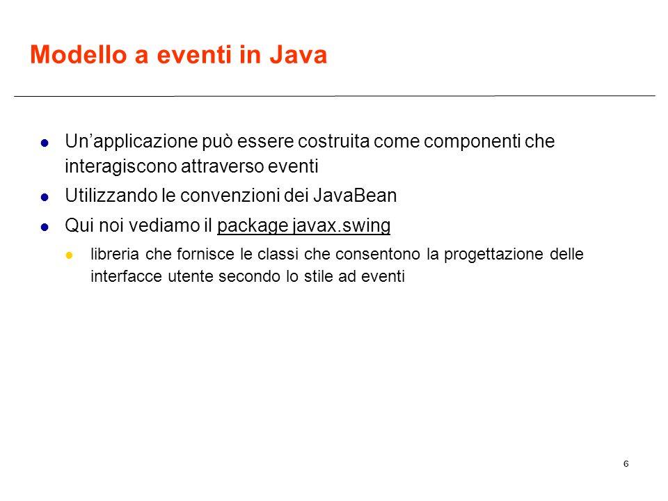 6 Modello a eventi in Java Unapplicazione può essere costruita come componenti che interagiscono attraverso eventi Utilizzando le convenzioni dei Java