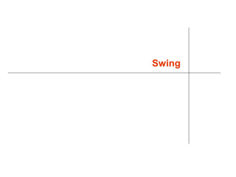 38 EventHandler Devono avere tre pezzi di codice Dichiarazione Estendono o implementano listener esistenti public class MyClass implements ActionListener { Associazione tra handler (ovvero listener) e istanza someComponent.addActionListener(instanceOfMyClass); Definizione del codice che implementa i metodi dellinterfaccia listener public void actionPerformed(ActionEvent e) {...