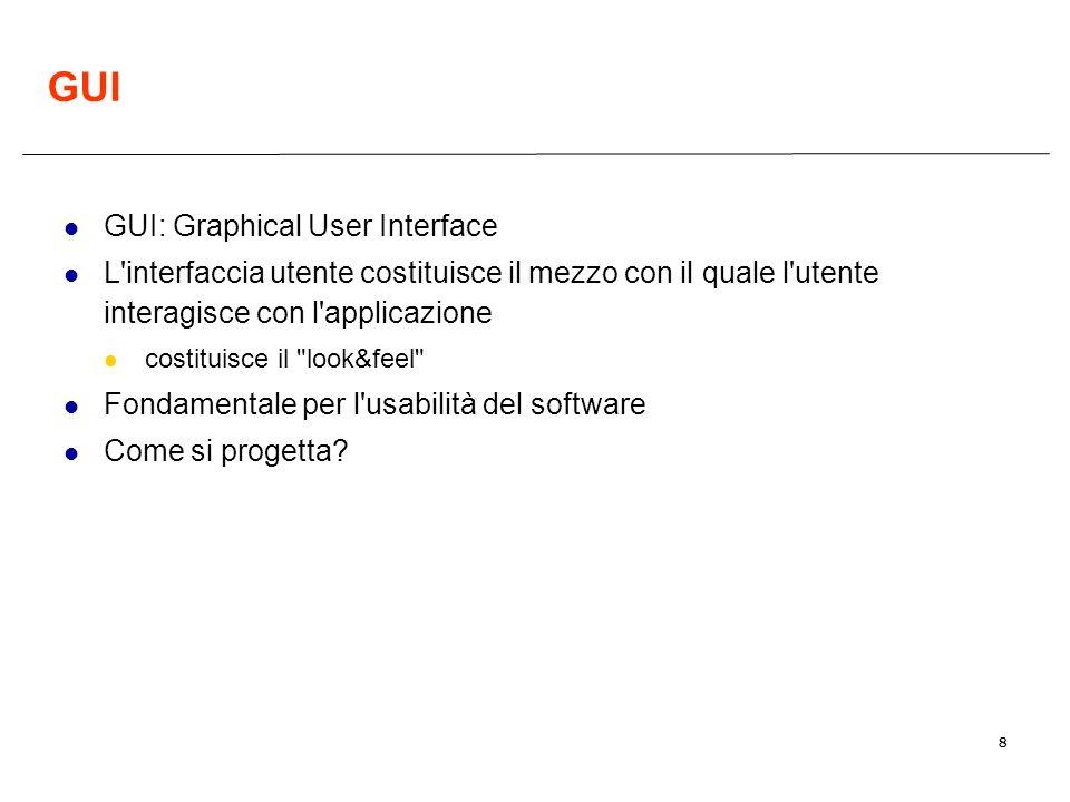 8 GUI GUI: Graphical User Interface L'interfaccia utente costituisce il mezzo con il quale l'utente interagisce con l'applicazione costituisce il