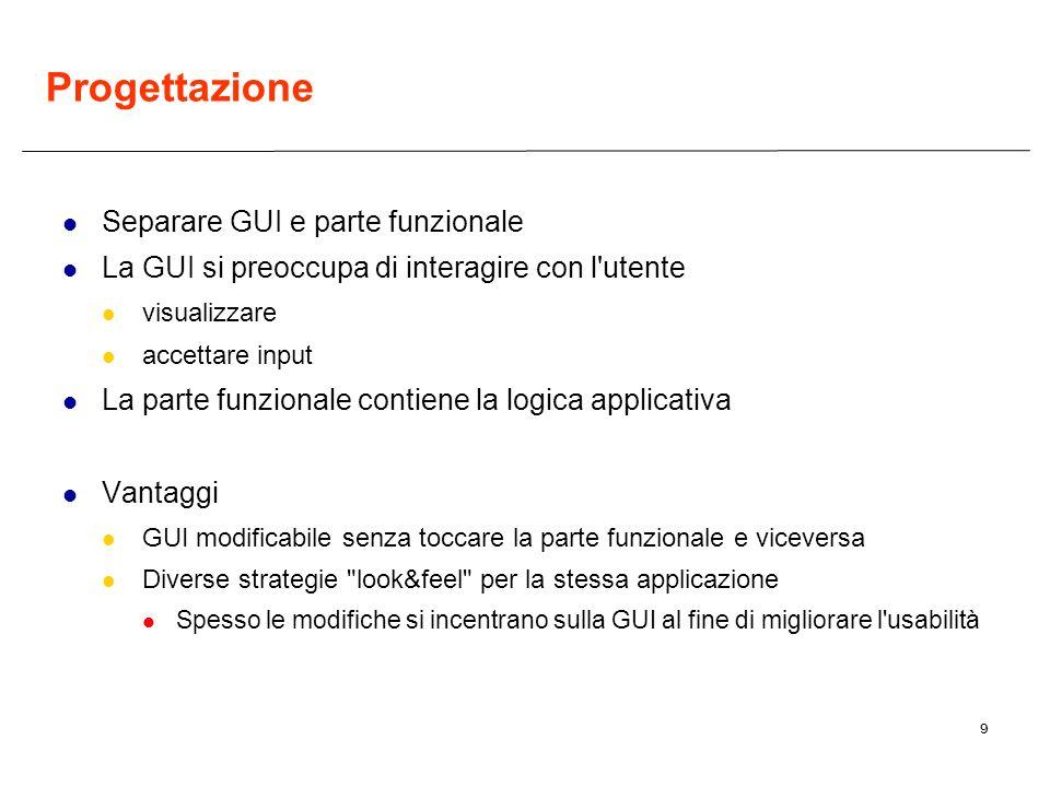 9 Progettazione Separare GUI e parte funzionale La GUI si preoccupa di interagire con l'utente visualizzare accettare input La parte funzionale contie