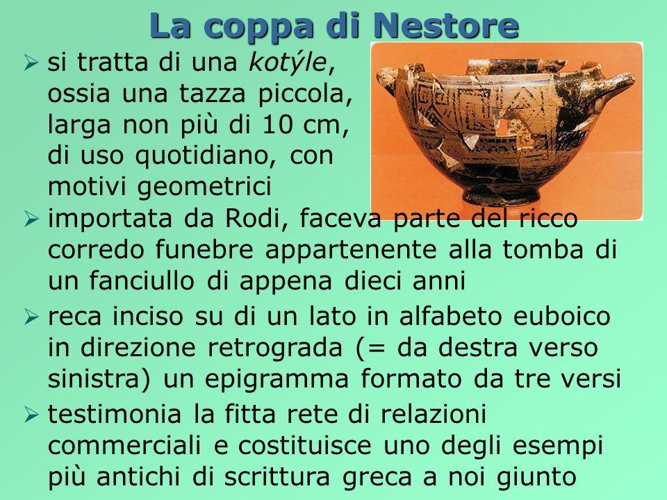 La coppa di Nestore si tratta di una kotýle, ossia una tazza piccola, larga non più di 10 cm, di uso quotidiano, con motivi geometrici importata da Ro