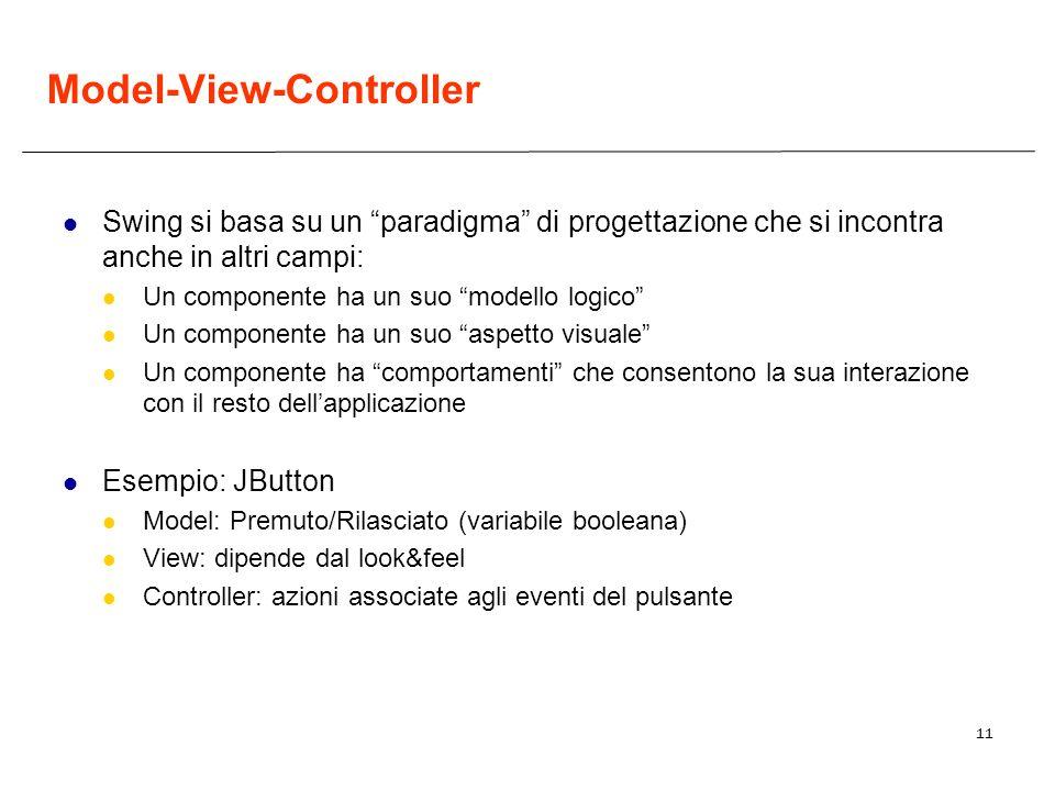 11 Model-View-Controller Swing si basa su un paradigma di progettazione che si incontra anche in altri campi: Un componente ha un suo modello logico U