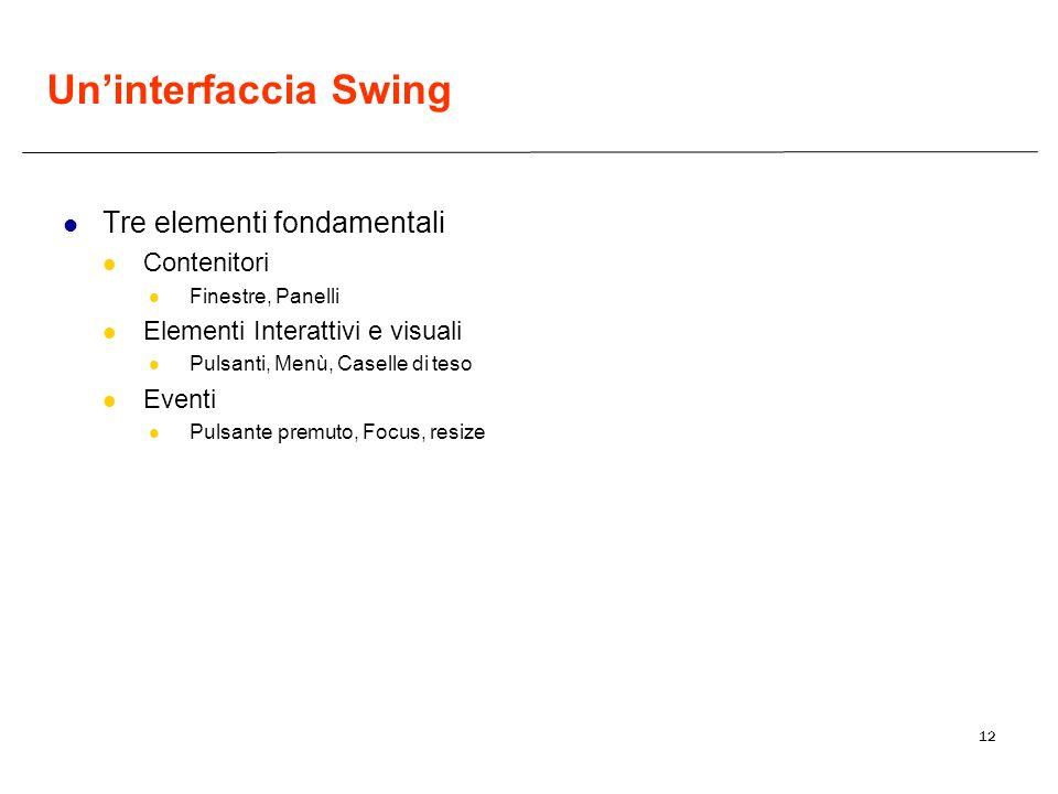 12 Uninterfaccia Swing Tre elementi fondamentali Contenitori Finestre, Panelli Elementi Interattivi e visuali Pulsanti, Menù, Caselle di teso Eventi P