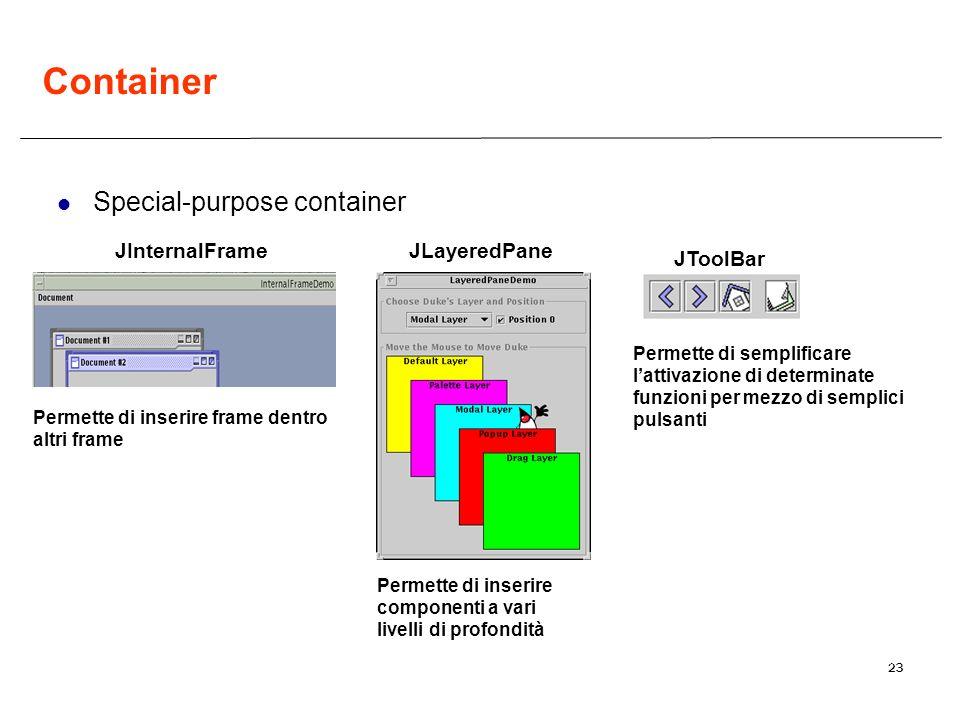 23 JInternalFrameJLayeredPane Permette di inserire componenti a vari livelli di profondità JToolBar Permette di inserire frame dentro altri frame Permette di semplificare lattivazione di determinate funzioni per mezzo di semplici pulsanti Container Special-purpose container