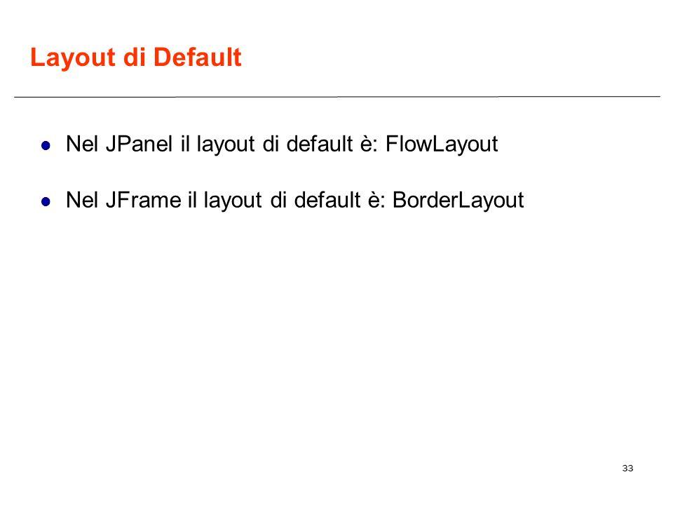 33 Layout di Default Nel JPanel il layout di default è: FlowLayout Nel JFrame il layout di default è: BorderLayout