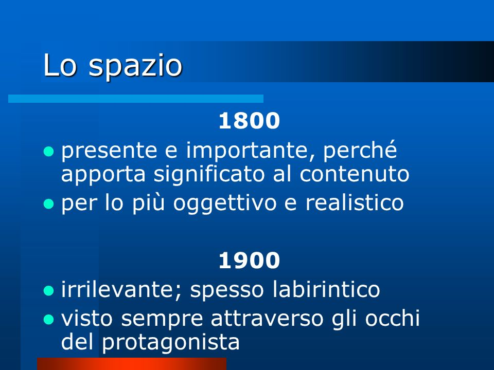 Lo spazio 1800 presente e importante, perché apporta significato al contenuto per lo più oggettivo e realistico 1900 irrilevante; spesso labirintico v
