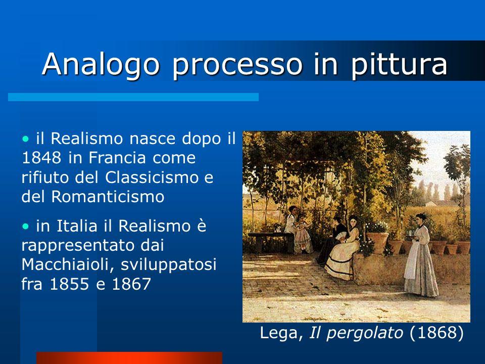 Analogo processo in pittura il Realismo nasce dopo il 1848 in Francia come rifiuto del Classicismo e del Romanticismo in Italia il Realismo è rapprese