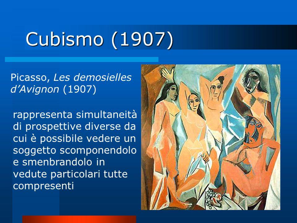 Cubismo (1907) Picasso, Les demosielles dAvignon (1907) rappresenta simultaneità di prospettive diverse da cui è possibile vedere un soggetto scompone