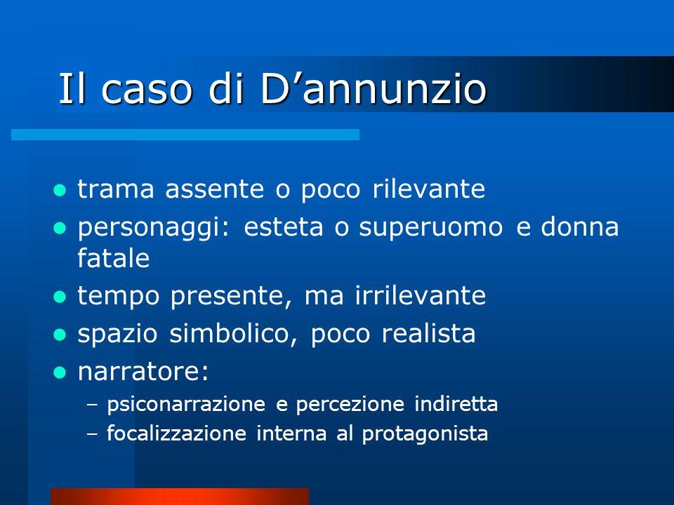 Il caso di Dannunzio trama assente o poco rilevante personaggi: esteta o superuomo e donna fatale tempo presente, ma irrilevante spazio simbolico, poc