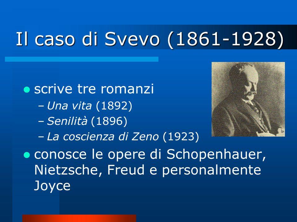 Il caso di Svevo (1861-1928) scrive tre romanzi –Una vita (1892) –Senilità (1896) –La coscienza di Zeno (1923) conosce le opere di Schopenhauer, Nietz