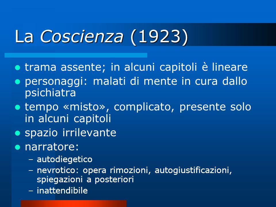 La Coscienza (1923) trama assente; in alcuni capitoli è lineare personaggi: malati di mente in cura dallo psichiatra tempo «misto», complicato, presen