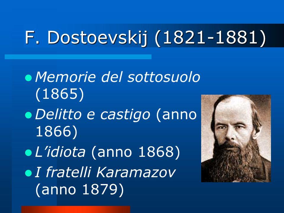 F. Dostoevskij (1821-1881) Memorie del sottosuolo (1865) Delitto e castigo (anno 1866) Lidiota (anno 1868) I fratelli Karamazov (anno 1879)