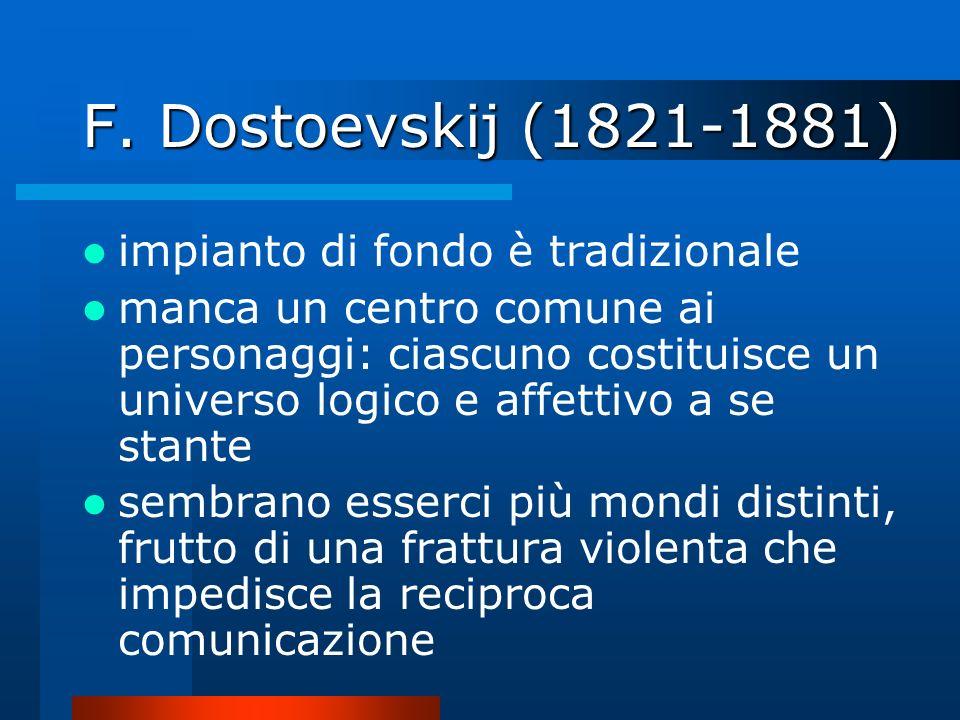 F. Dostoevskij (1821-1881) impianto di fondo è tradizionale manca un centro comune ai personaggi: ciascuno costituisce un universo logico e affettivo
