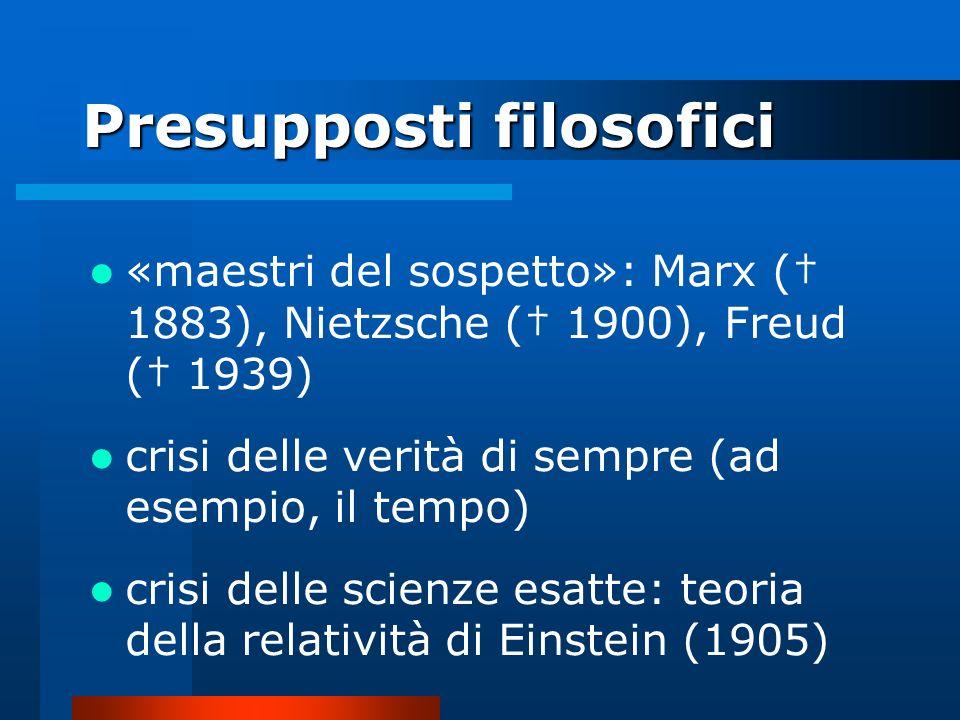 Presupposti filosofici «maestri del sospetto»: Marx ( 1883), Nietzsche ( 1900), Freud ( 1939) crisi delle verità di sempre (ad esempio, il tempo) cris
