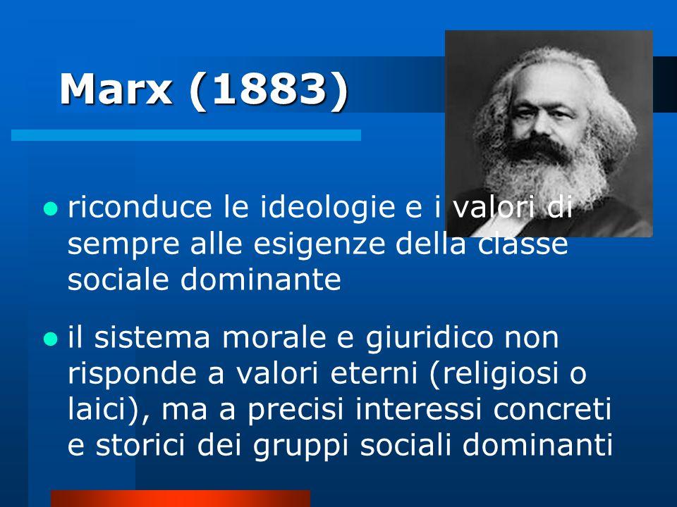 Marx (1883) riconduce le ideologie e i valori di sempre alle esigenze della classe sociale dominante il sistema morale e giuridico non risponde a valo