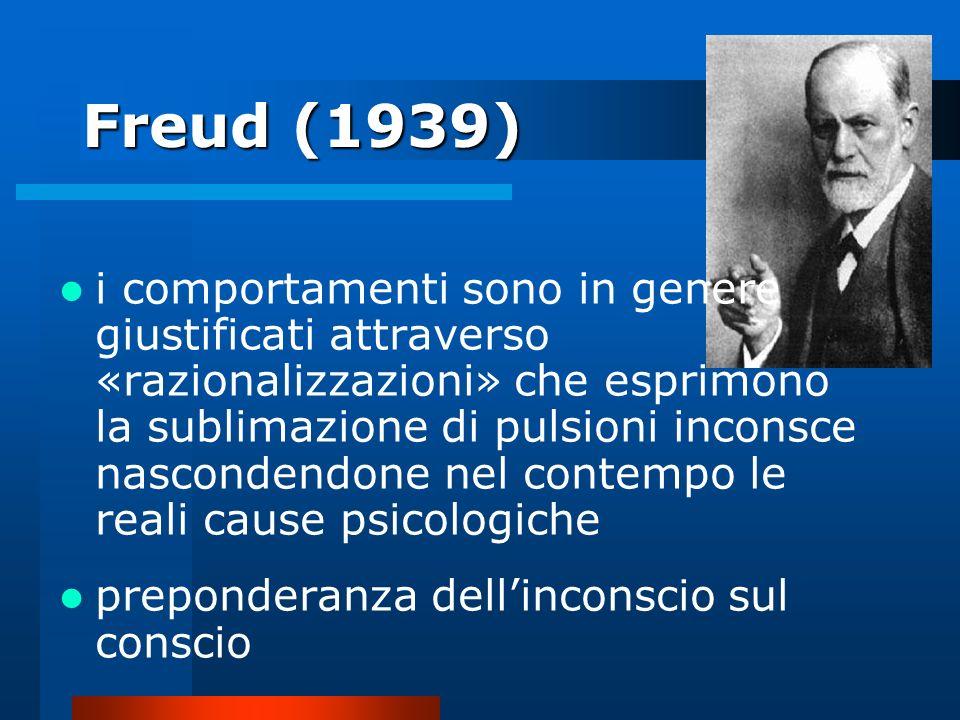 Freud (1939) i comportamenti sono in genere giustificati attraverso «razionalizzazioni» che esprimono la sublimazione di pulsioni inconsce nascondendo