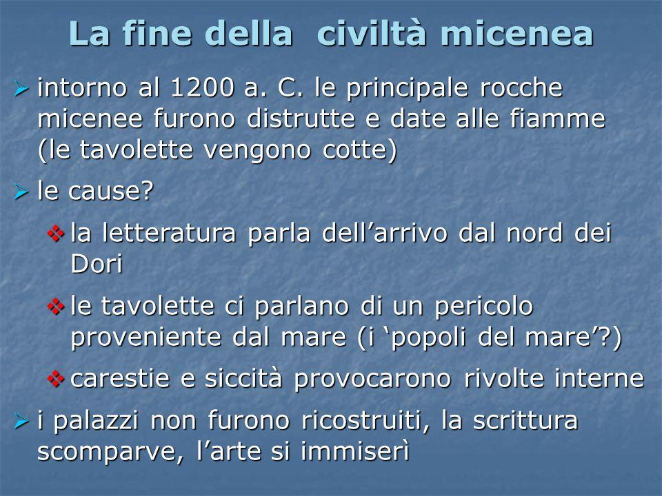 La fine della civiltà micenea intorno al 1200 a. C. le principale rocche micenee furono distrutte e date alle fiamme (le tavolette vengono cotte) into