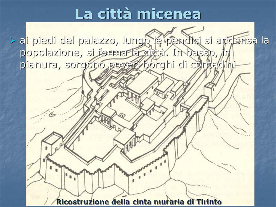 La città micenea Ricostruzione della cinta muraria di Tirinto ai piedi del palazzo, lungo le pendici si addensa la popolazione, si forma la città. In