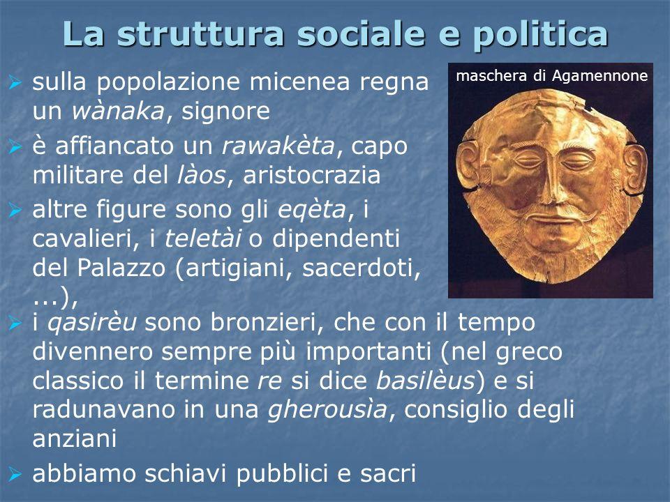 La struttura sociale e politica sulla popolazione micenea regna un wànaka, signore è affiancato un rawakèta, capo militare del làos, aristocrazia altr