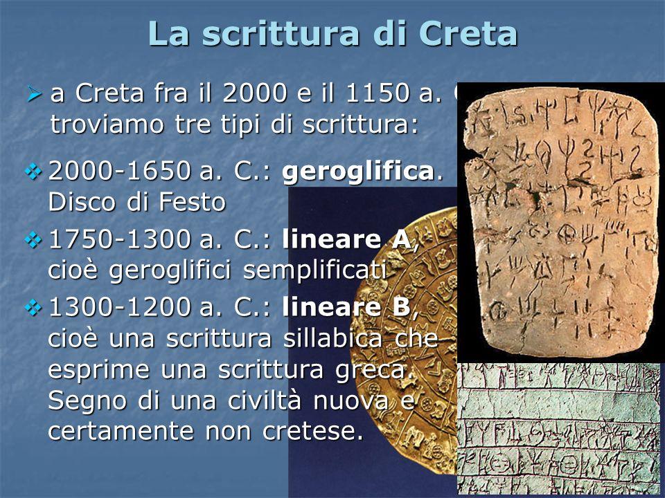 La scrittura di Creta a Creta fra il 2000 e il 1150 a. C. troviamo tre tipi di scrittura: a Creta fra il 2000 e il 1150 a. C. troviamo tre tipi di scr
