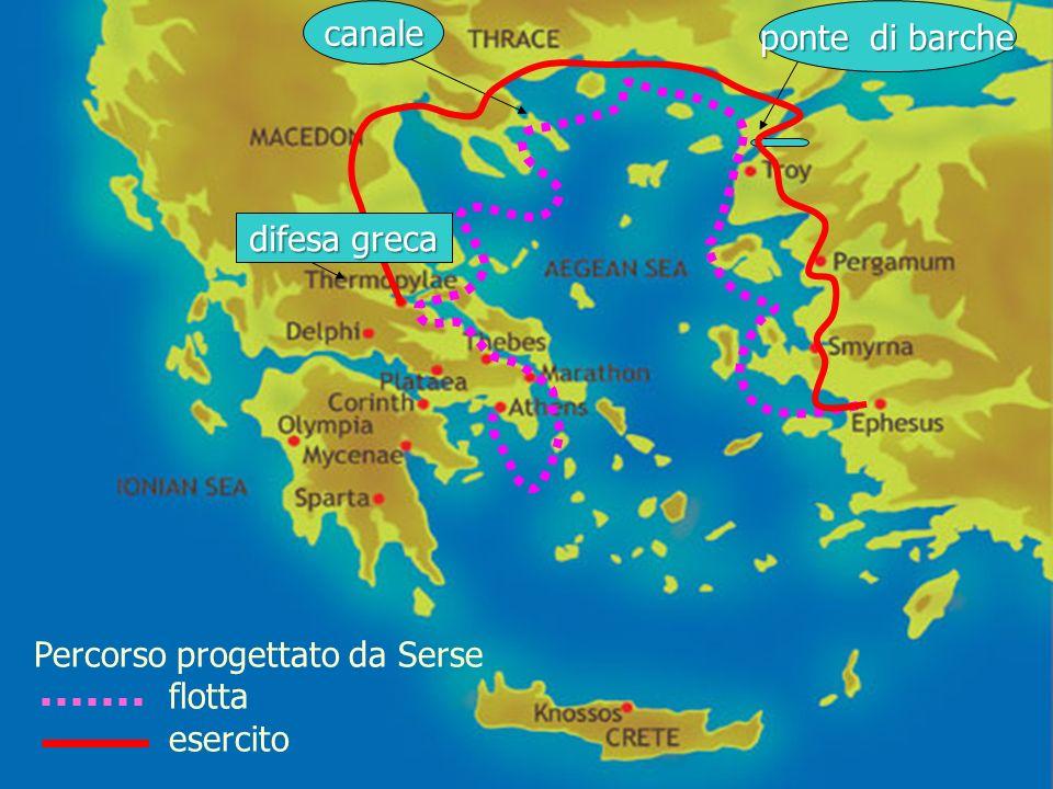 canale ponte di barche Percorso progettato da Serse flotta esercito difesa greca