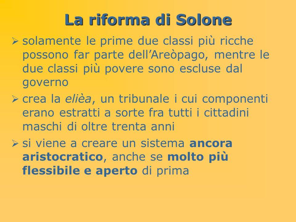 La riforma di Solone solamente le prime due classi più ricche possono far parte dellAreòpago, mentre le due classi più povere sono escluse dal governo