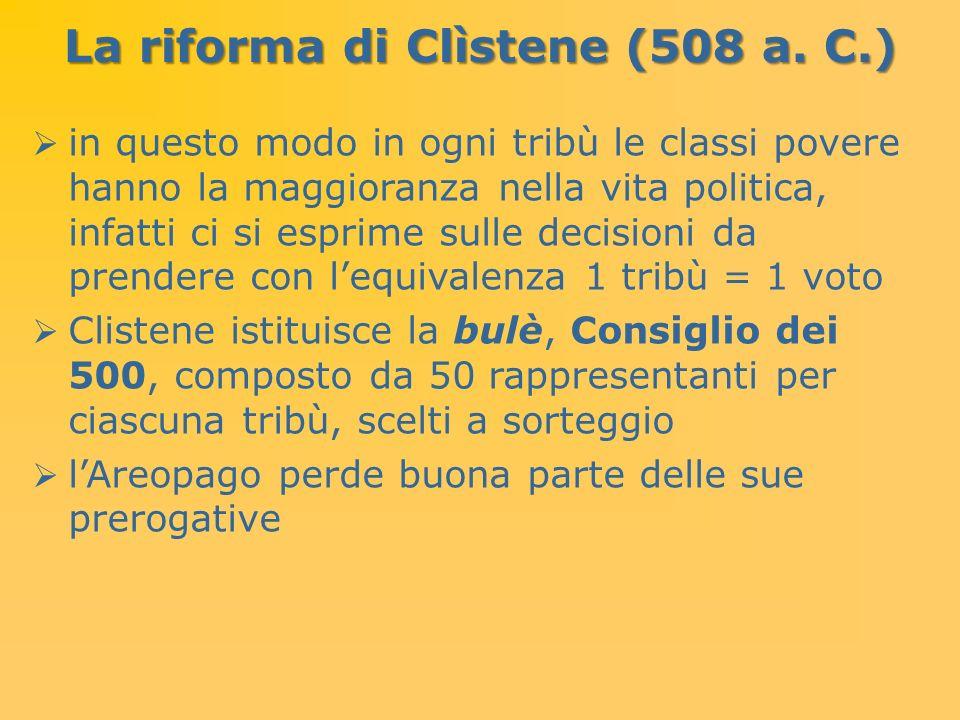 La riforma di Clìstene (508 a. C.) in questo modo in ogni tribù le classi povere hanno la maggioranza nella vita politica, infatti ci si esprime sulle