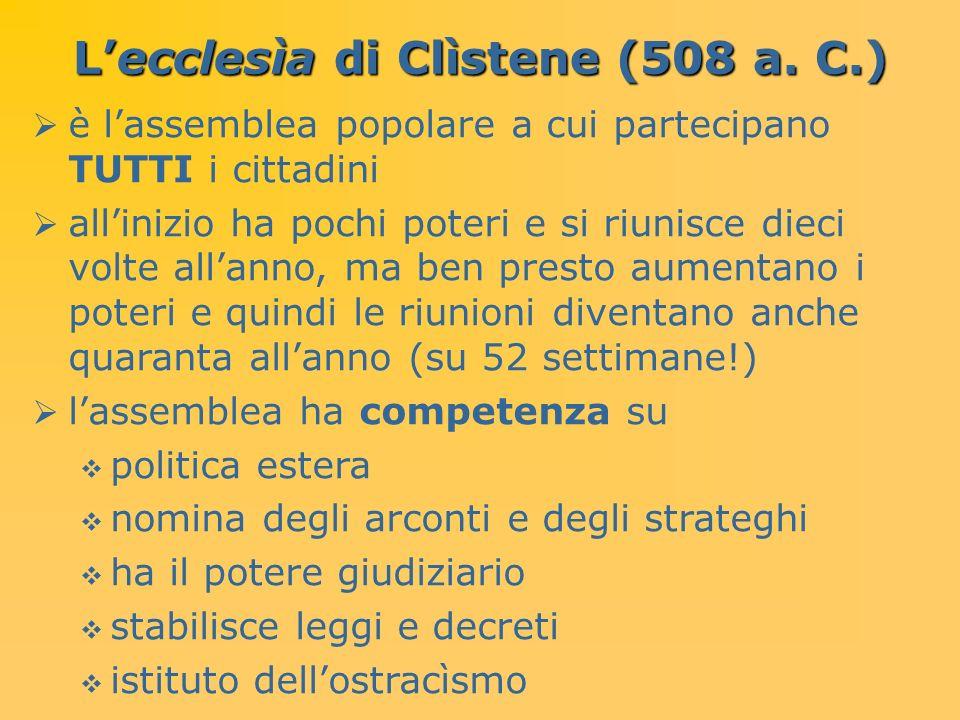 Lecclesìa di Clìstene (508 a. C.) è lassemblea popolare a cui partecipano TUTTI i cittadini allinizio ha pochi poteri e si riunisce dieci volte allann